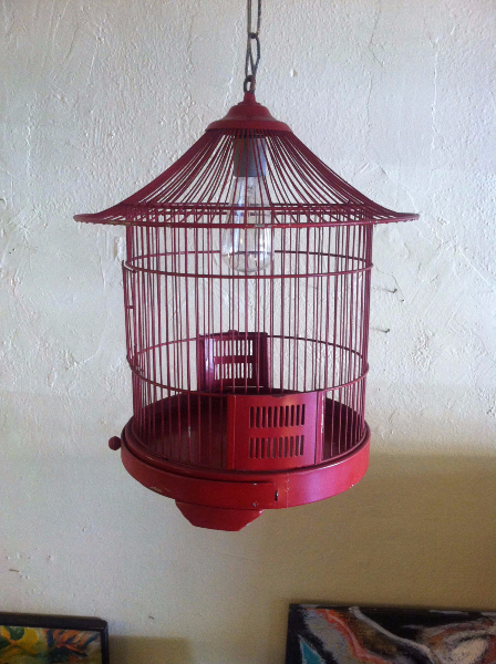 red vintage bird cage lamp
