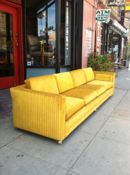 1960s Gold Velvet Tuxedo Sofa