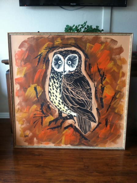 1970s Owl Painting