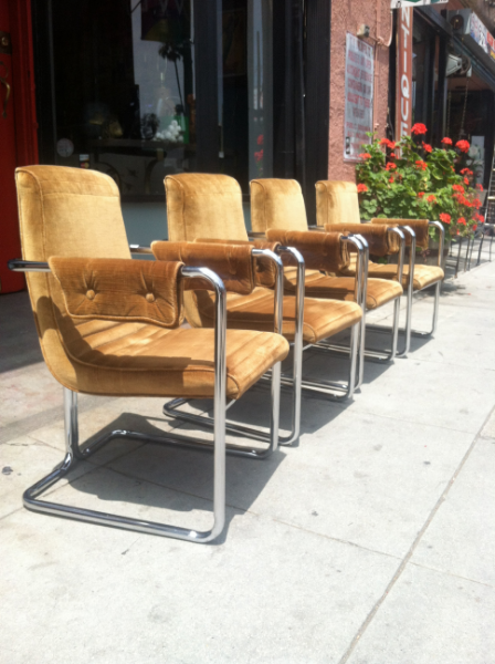 Set of 4 Chrome Dining Chairs
