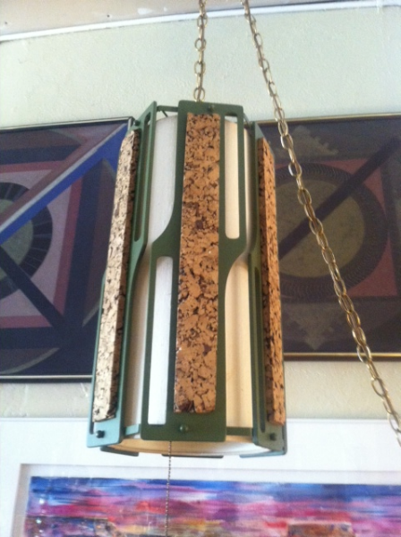 cork and wood swag lamp