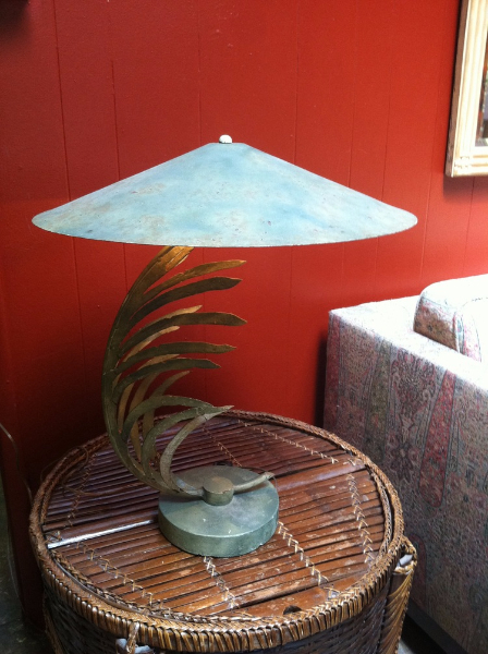 1950s Metal Palm Leaf Lamp
