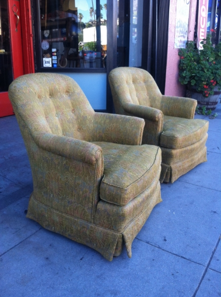 Pair of Green Compact Club Chairs by Henredon