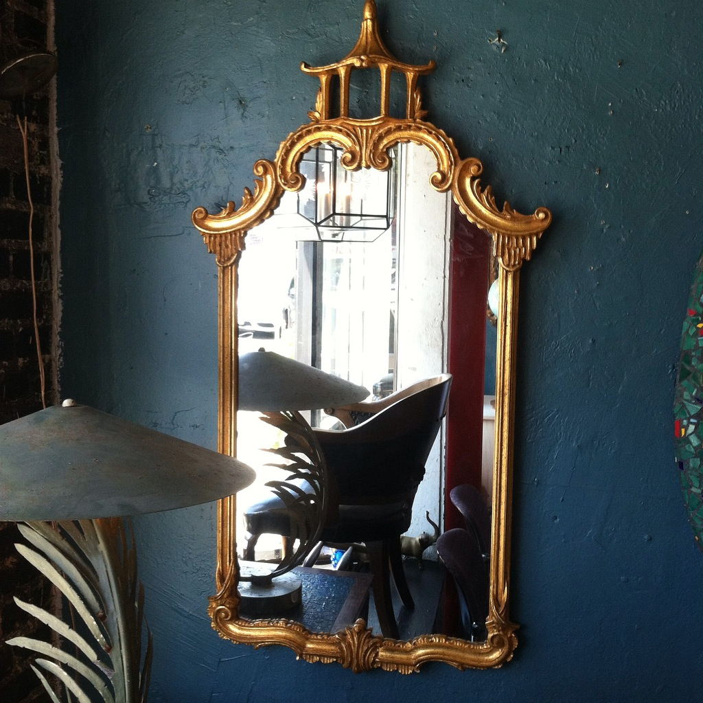 1950s Gilded Mirror With Asian Motif