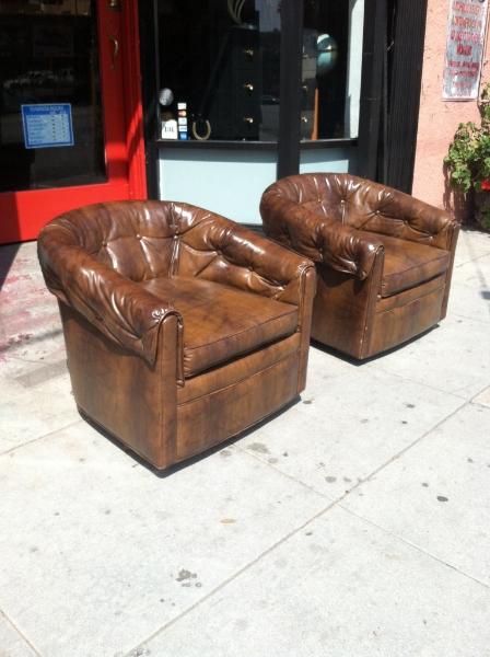 Pair of 1970s Naughahyde Club Chairs