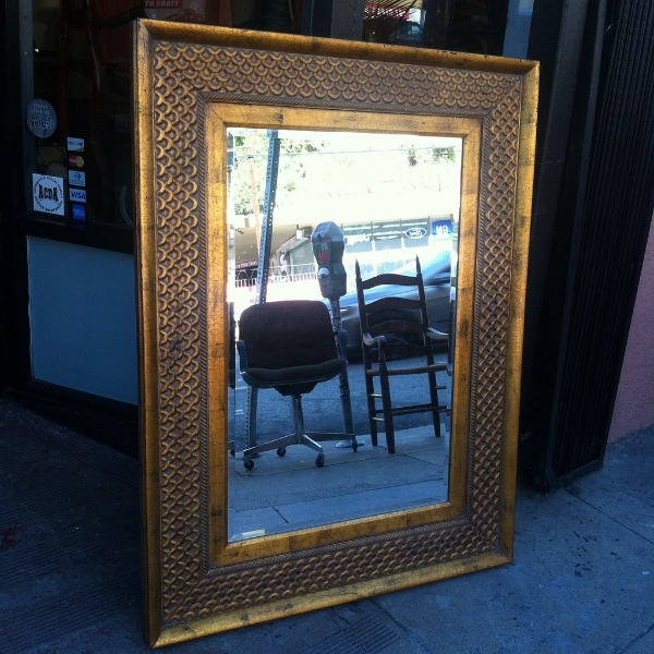 large gold fish wood mirror