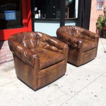 Pair of 1970s Naugahyde Club Chairs