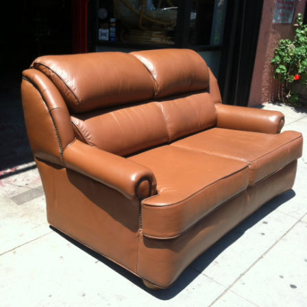 Full Grain Cowhide Love Seat