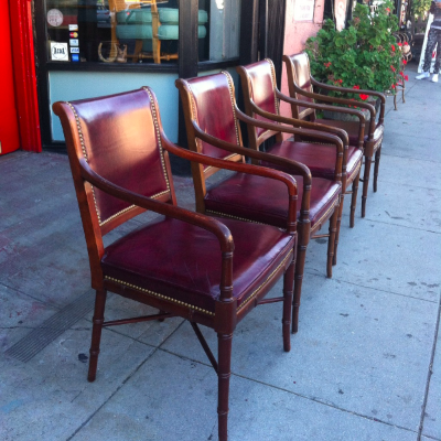 Set of Four Faux Bamboo and Leather Arm Chairs