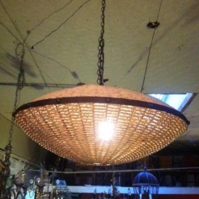 Large Orb Light Made of Iron and Rope