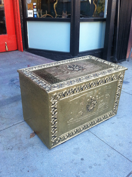 Metal Wrapped Trunk with Brass Finish