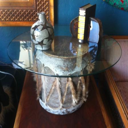 animal hide drum table