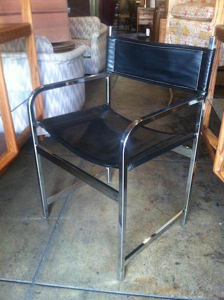 1970s Director Style Chrome and Naugahyde Chair
