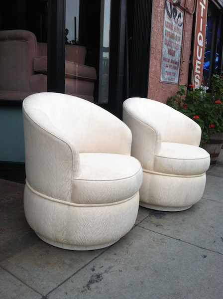 Pair of White 1970's Barrel Chairs That Swivel