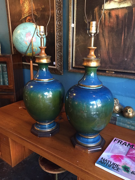 Pair of Large Mid-century Pottery Lamps