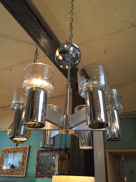 1970s Chrome Chandelier with 6 Lights