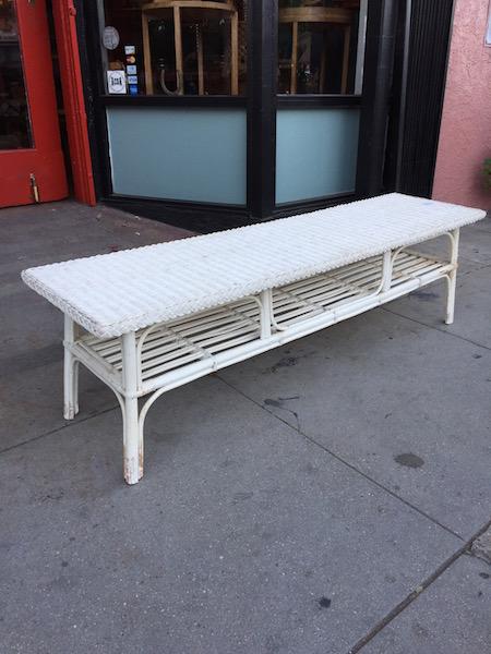 1970s Wicker Bench With Shelf