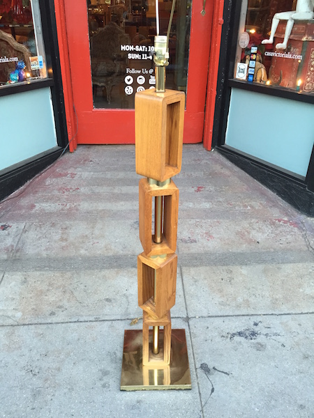 Modernist Oak and Brass Floor Lamp