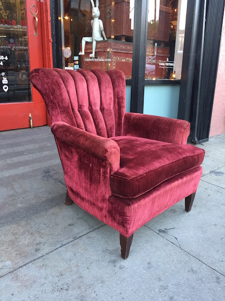 1950s Deep Red Velvet Channel Back Club Chair