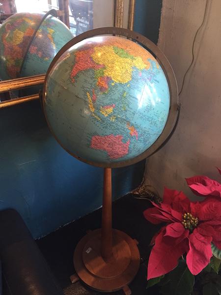 large mid-century standing globe on wood base