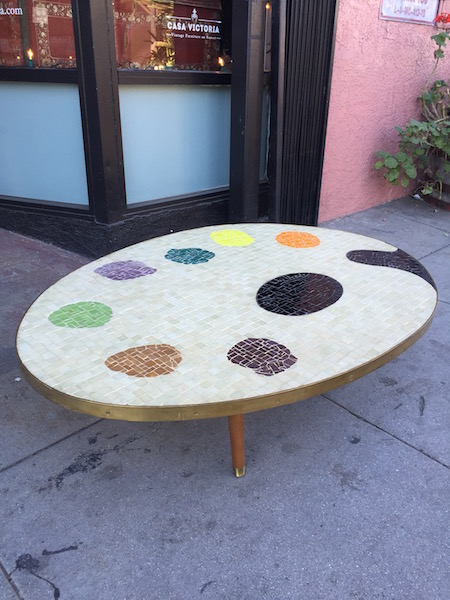 1950s Custom Made Painter's Pallet Mosaic Coffee Table