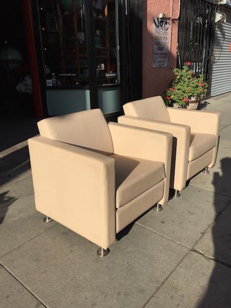 Pair of Tan Naugahyde Club Chairs by Krug Furniture