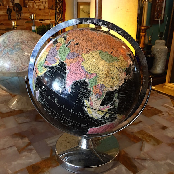1960s Black Globe on Chrome Base