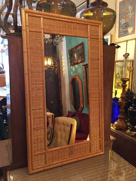 Bamboo Mirror With Cane Trim