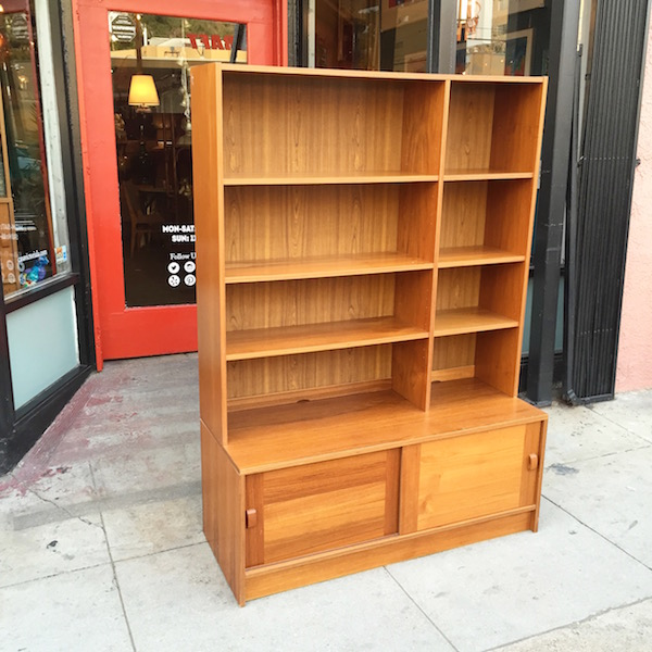 Bookcase and Cabinet with Teak Finish