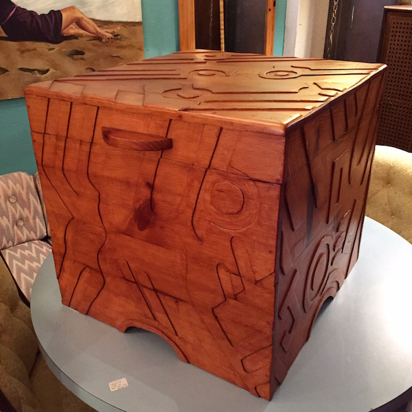 Handcrafted Pine Chest with Abstract Design