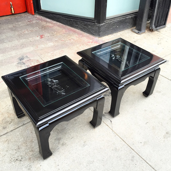 Pair of Ming Style Mid-Century Side Tables