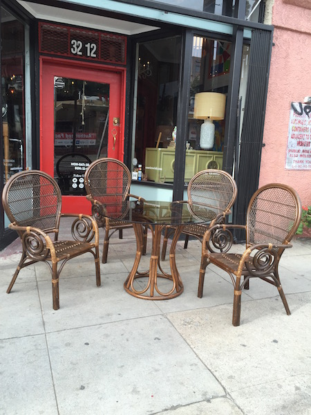 1970s Acapulco-style Rattan Dining Table with Four Chairs