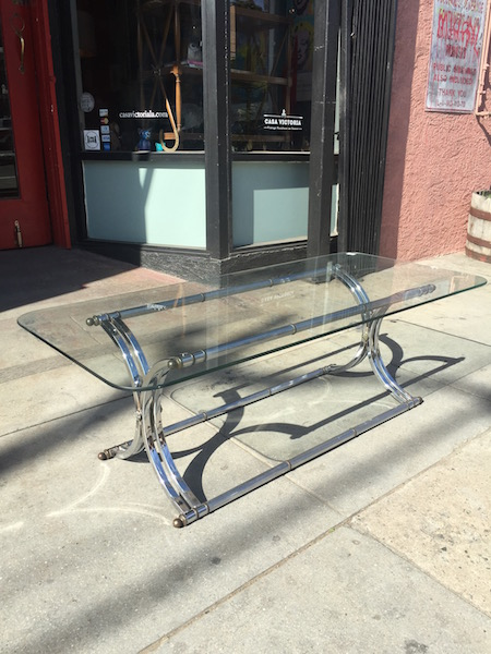1970s Italian Style Chrome and Brass Coffee Table