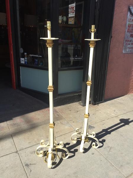 Pair of Spanish Style Iron Floor Lamps