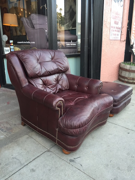Leather Club Chair and Matching Ottoman