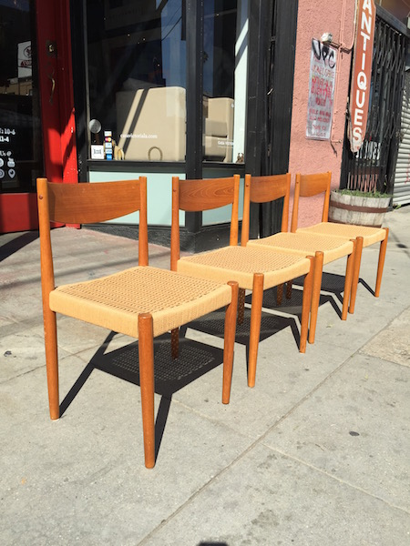 Four Vintage Chairs Made of Rope and Teak