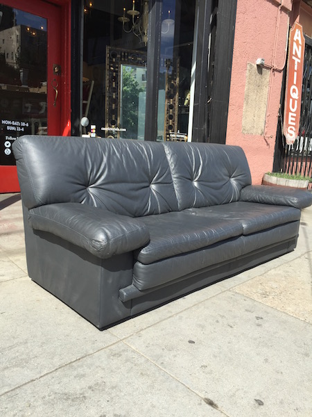 1980s charcoal gray italian leather sofa