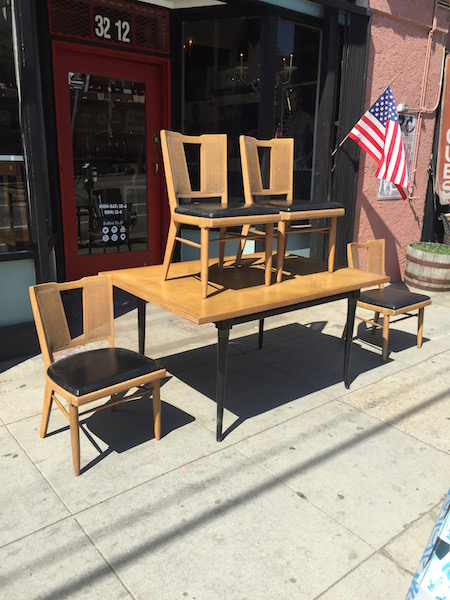 Mid-century Dining Set with Caned Chairs
