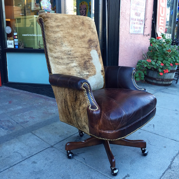 Custom Made Executive Desk Chair Made of Leather and Cowhide