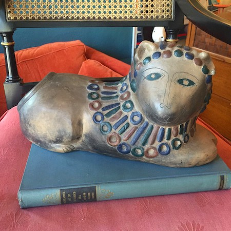 vintage clay lion