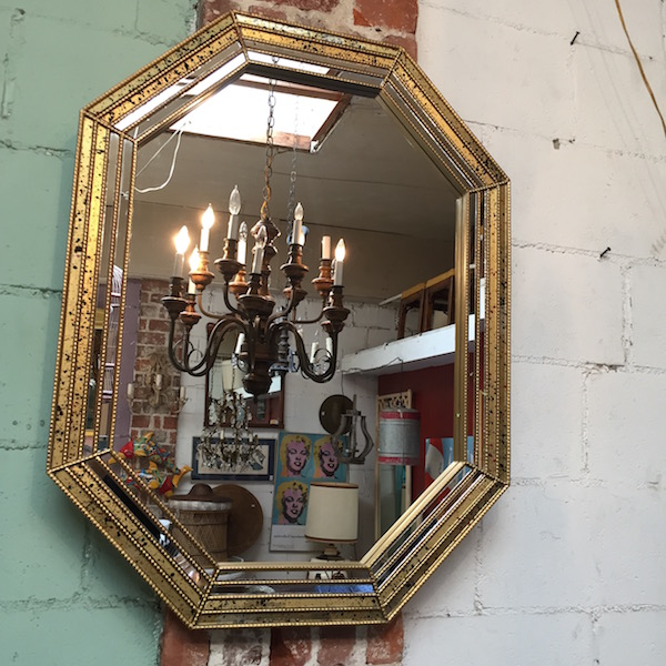 Vintage Mirror with Spotted Glass Frame