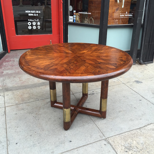 1970s Dining Table with Inlayed Wood Design