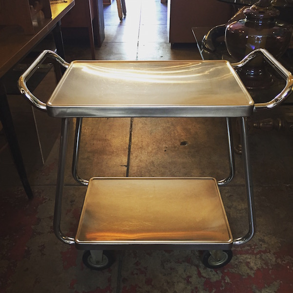 1960s Stainless and Chrome Room Service Cart