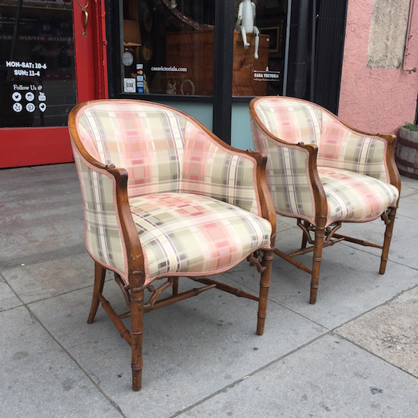 Pair of 1950s Faux Bamboo Club Chairs