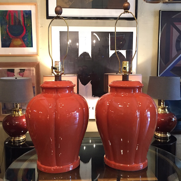 Large Orange Ceramic Lamps