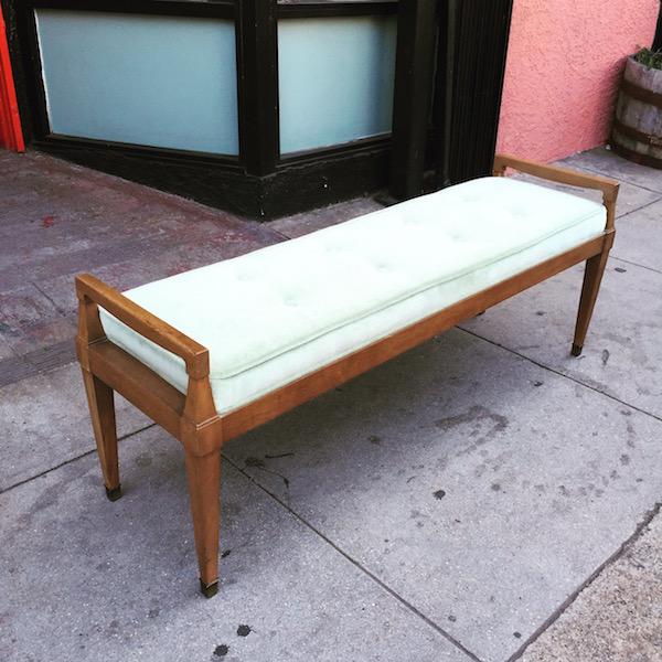 Light Green Mid-century Bench