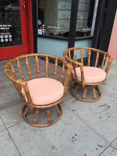 Pair of vintage rattan swivel chairs