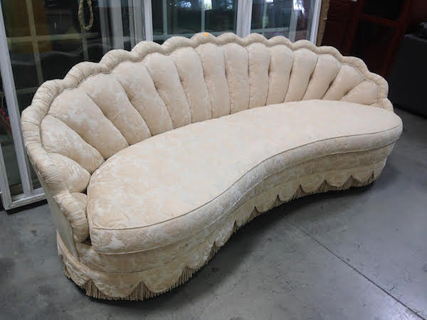 Custom Made Scalloped and Curved Hollywood Regency Sofa