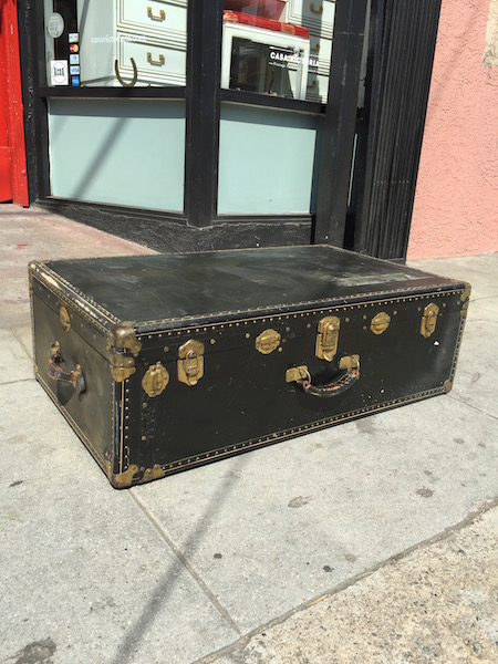 Vintage Black Steamer Trunk