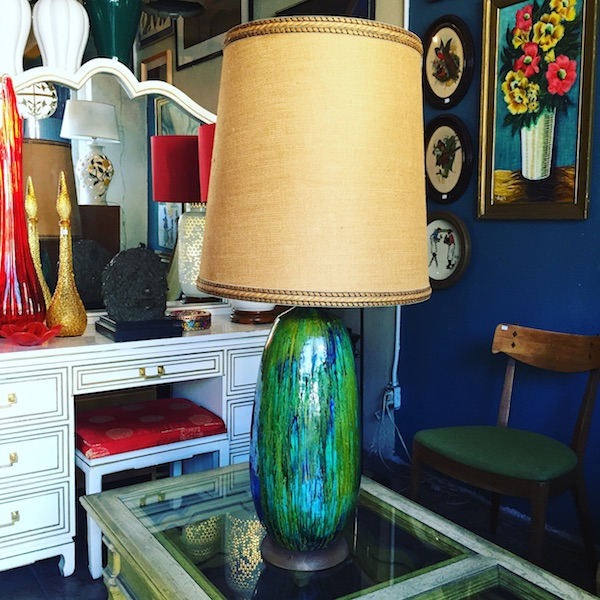 Large Mid-century Lamp with Burlap Shade